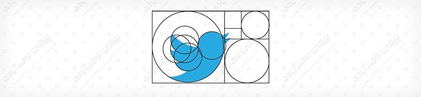 عدد فی (نسبت طلایی) در طراحی لوگو شرکت تویتر